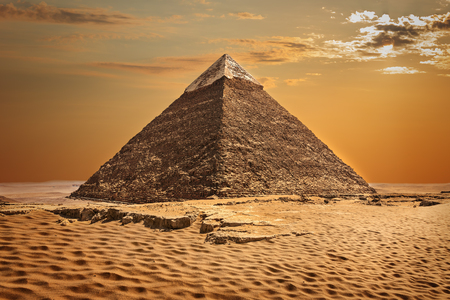 The Pyramid of Chephren beautiful view in Giza, Egypt. Banque d'images - 125031351