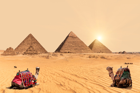 The Pyramids and camels in Giza desert, Egypt Banque d'images - 125043375