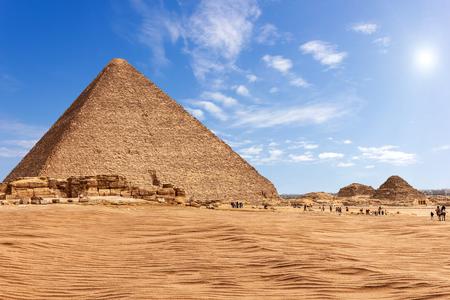The Pyramid of Menkaure in sunny desert of Giza, Egypt Reklamní fotografie