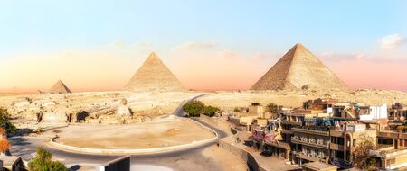 Panorama of Giza Pyramids, view from the buildings, Egypt.
