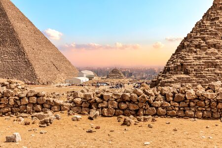 The Great Pyramids of Giza, view on the bases.