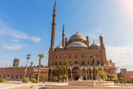 Alabaster Mosque in Cairo, beautiful day view Imagens - 128768718