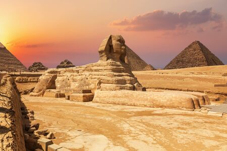 The Sphinx and the Pyramids, beautiful close sunset view, Egypt
