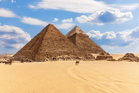 Giza desert with Famous Pyramids of Egypt, beautiful day view