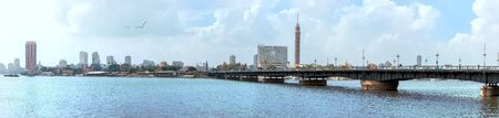 Beautiful Nile panorama, the bridge and the Tower of Cairo, Egypt Imagens
