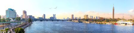 Panorama of Cairo, the Nile and Gezira island view, Egypt Imagens