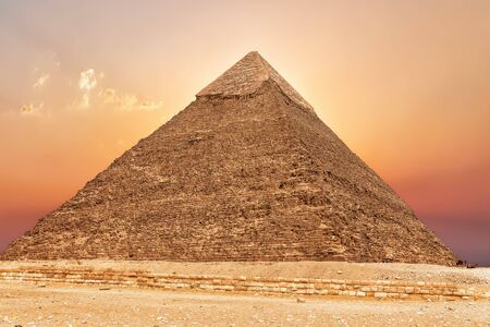 Sunset in Giza and the Pyramid of Khafre, Egypt.
