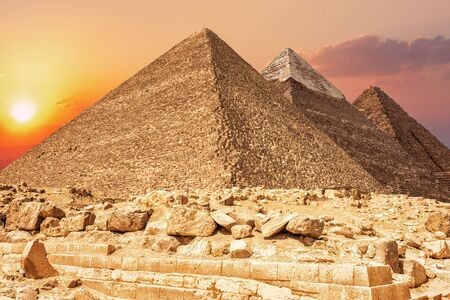 Three most famous pyramids of Giza, Egypt.
