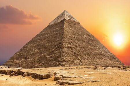 Famous Pyramid of Chephren and the sunset in Giza.