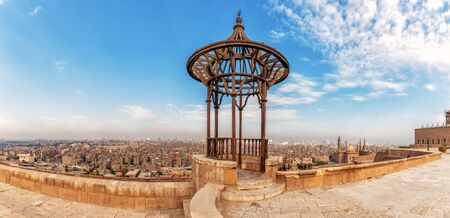 Old forged pavilion in the panorama of Cairo, view of the Citadel
