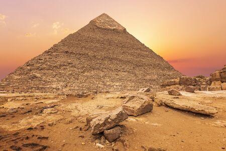 Beautiful Pyramid of Khafre in the evening sun, Giza, Egypt