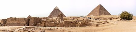 The Sphinx and the Pyramids panorama, Giza, Egypt