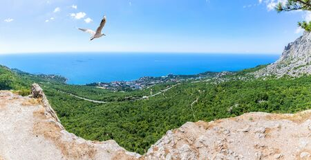 Foros resort town panorama, view from the Crimean mountains, Crimea, Ukraine.