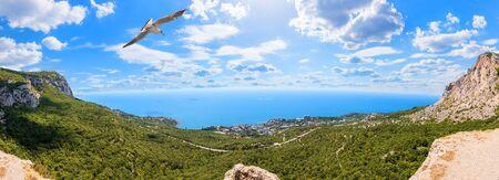 Foros town in Crimea, beautiful summer panorama.