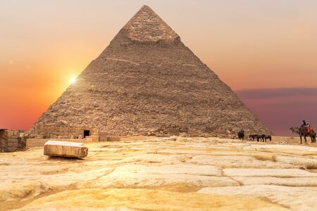 The Pyramid of Chephren in the rays of sunset, Egypt.