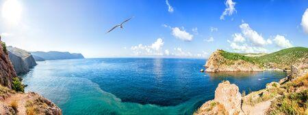 Sea panorama of the coast of Balaklava Bay, Crimea.