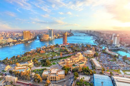 Cairo downtown and the Nile river, aerial view, Egypt.