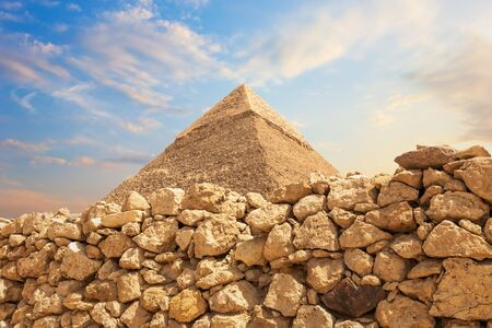 The Pyramid of Khafre in the stones of the Giza desert, Egypt.