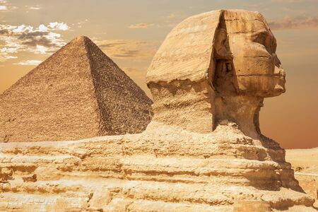 The Sphinx and the Pyramid of Cheops, close view, Giza, Egypt.
