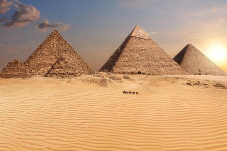 The Pyramids after the sunset, wonderful desert view, Egypt. Imagens