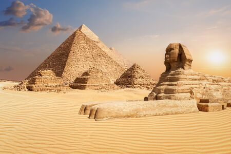 The Pyramids and the Sphinx of Giza, famous world landmark scenery.