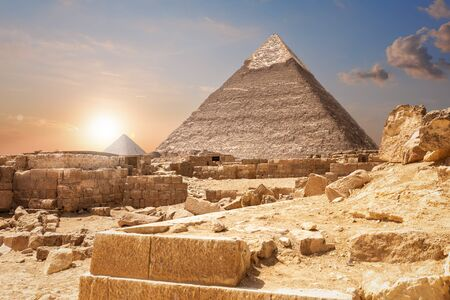 Ruins and the Pyramids, beautiful view of Giza, Egypt. Stock Photo