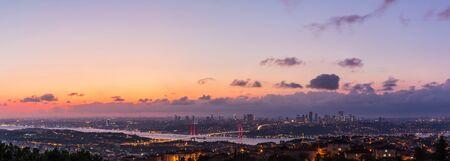 Night Istanbul panorama, view on the Bosphorus Bridge.