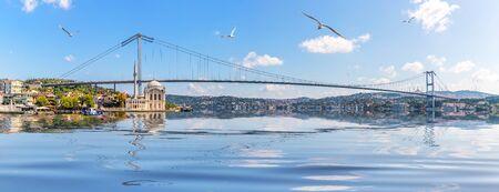 Ortakoy Mosque and Bosphorus Bridge, Istanbul panorama, Turkey Imagens