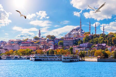 The Suleymaniye Mosque, beautiful view from the Golden Horn inlet, Istanbul, Turkey Imagens