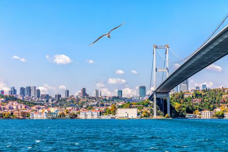 The 15 July Martyrs Bridge or the Bosphorus Bridge and modern Istanbul view Imagens