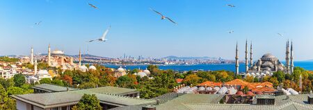 Istanbul panorama: view on the Hagia Sophia and the Sultan Ahmed Mosque
