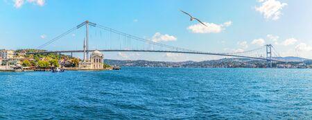 The Bosphorus Bridge and the Ortakoy Mosque in Istanbul, Turkey, panoramic view