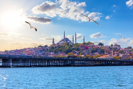 The Suleymaniye Mosque, beautiful Istanbul view from the Bosphorus, Turkey