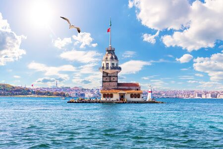 The Maidens Tower in the Bosphorus, Istanbul, Turkey Imagens
