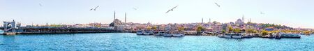 Beaitiful Istanbul Panorama: view on the Eminonu Pier from the sea, Turkey