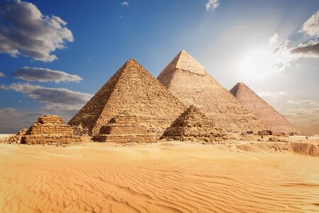 The Pyramids of Giza in the clouds, Cairo, Egypt Imagens