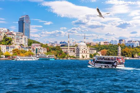 The Bosphorus, view on the Molla Celebi Mosque and the modern buildings of Istanbul, Turkey.