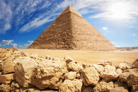 Wonderful Pyramid of Khafre in Giza desert, Cairo, Egypt.
