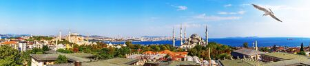 Istanbul skyline panorama: the roofs, the Hagia Sophia and the Blue Mosque view, Turkey.