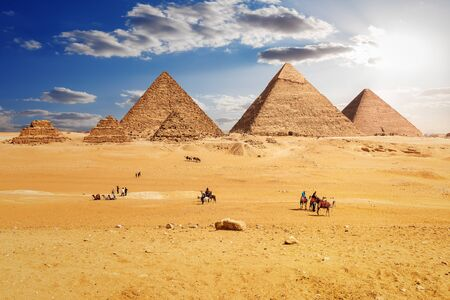Bedouins near the Pyramids of Giza in Egypt. Stock Photo