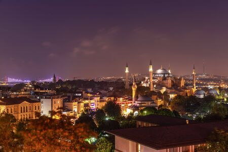 Night Istanbul, view on Hagia Sophia, the Bosphorus Bridge and the Galata Tower