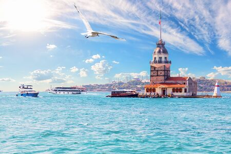 Leanders Tower or the Maidens Tower in Istanbul, Turkey Imagens