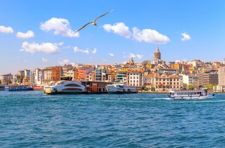 Karakoy district with famous Galata Tower of Istanbul, Turkey. 스톡 콘텐츠