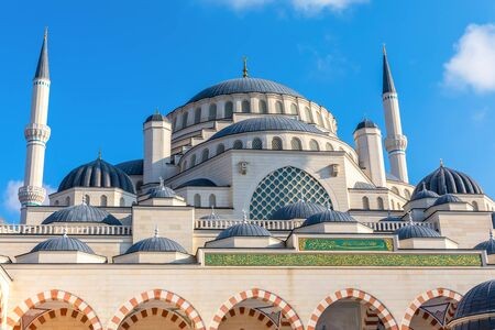 Gorgeous new mosque of Istanbul, the Camlica Mosque, facade view.