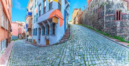 Fener district of Istanbul, beautiful narrow street panorama