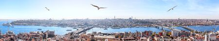 Istanbul bridges over the Golden Horn - the Galata Bridge, the Halic metro bridge, the Ataturk bridge, panoramic view