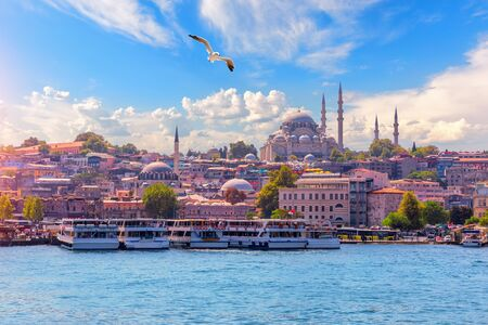 View on the Eminonu district and the Suleymaniye Mosque from the Bosphorus, Istanbul, Turkey Stock Photo