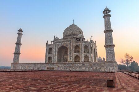 Taj Mahal in India at sunset, wonderful view, no people