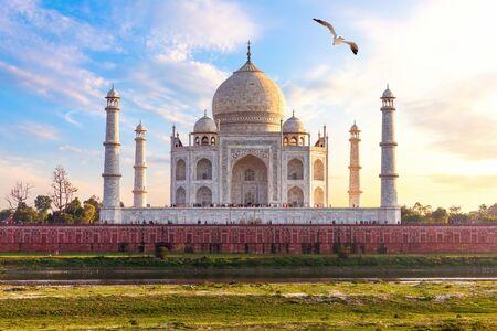 India, Taj Mahal complex, beautiful day view. Banco de Imagens