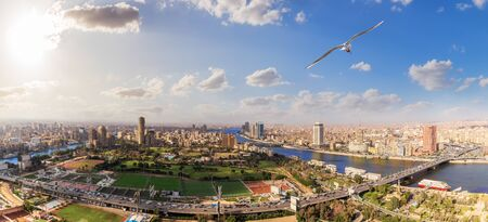 Cairo centre aerial panorama, view from the Tower, Egypt